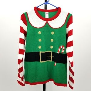 Elf Candy Cane Stripe Ugly Christmas Sweater